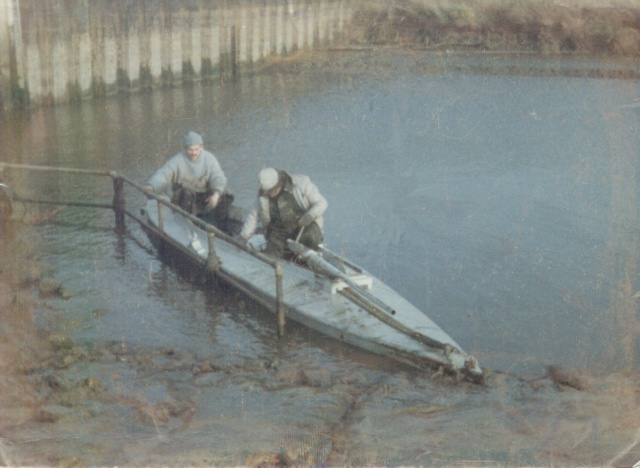 First launch of my punt at Patrington Haven pumping station 1988  (note smaller gun and wader depth very soft mud)