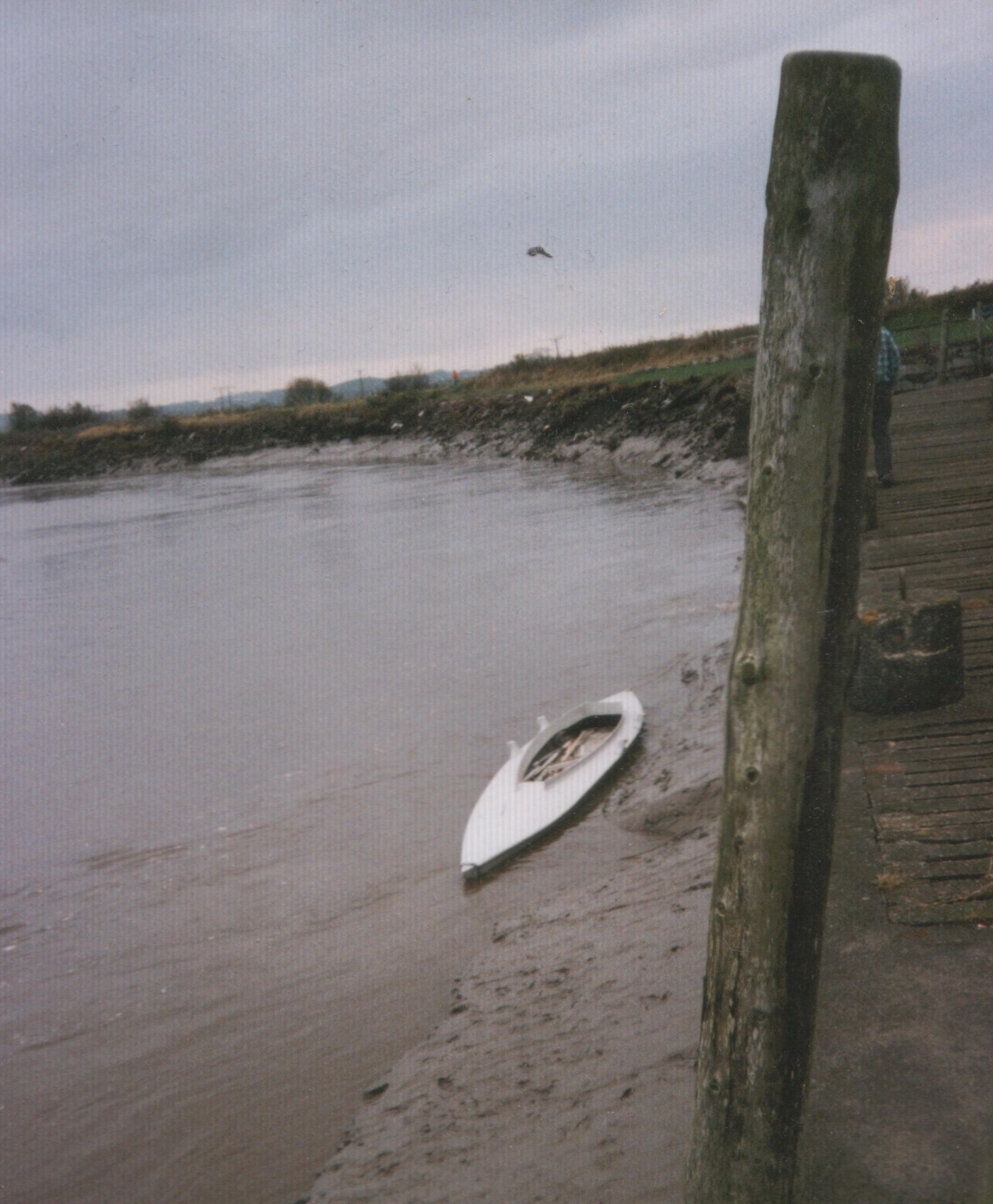 Early view of punt at wigtown harbour (note soft mud)